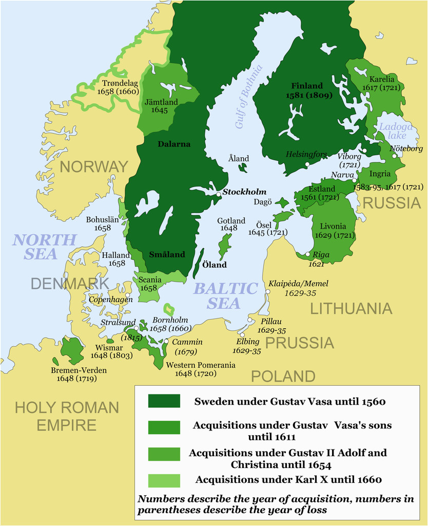 map showing the development of the swedish empire between