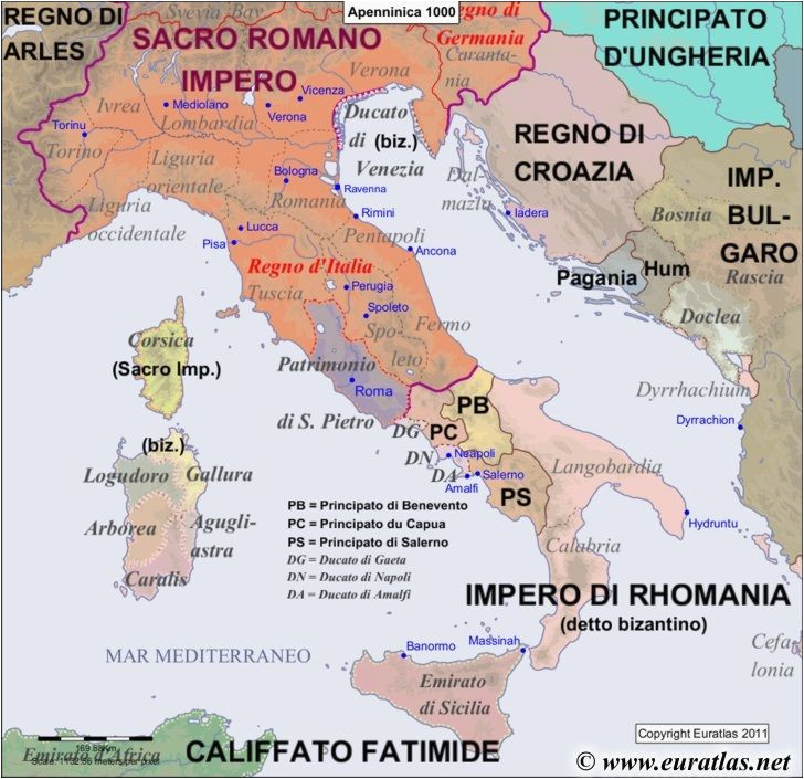 map of the apennine peninsula in the year 1000 world