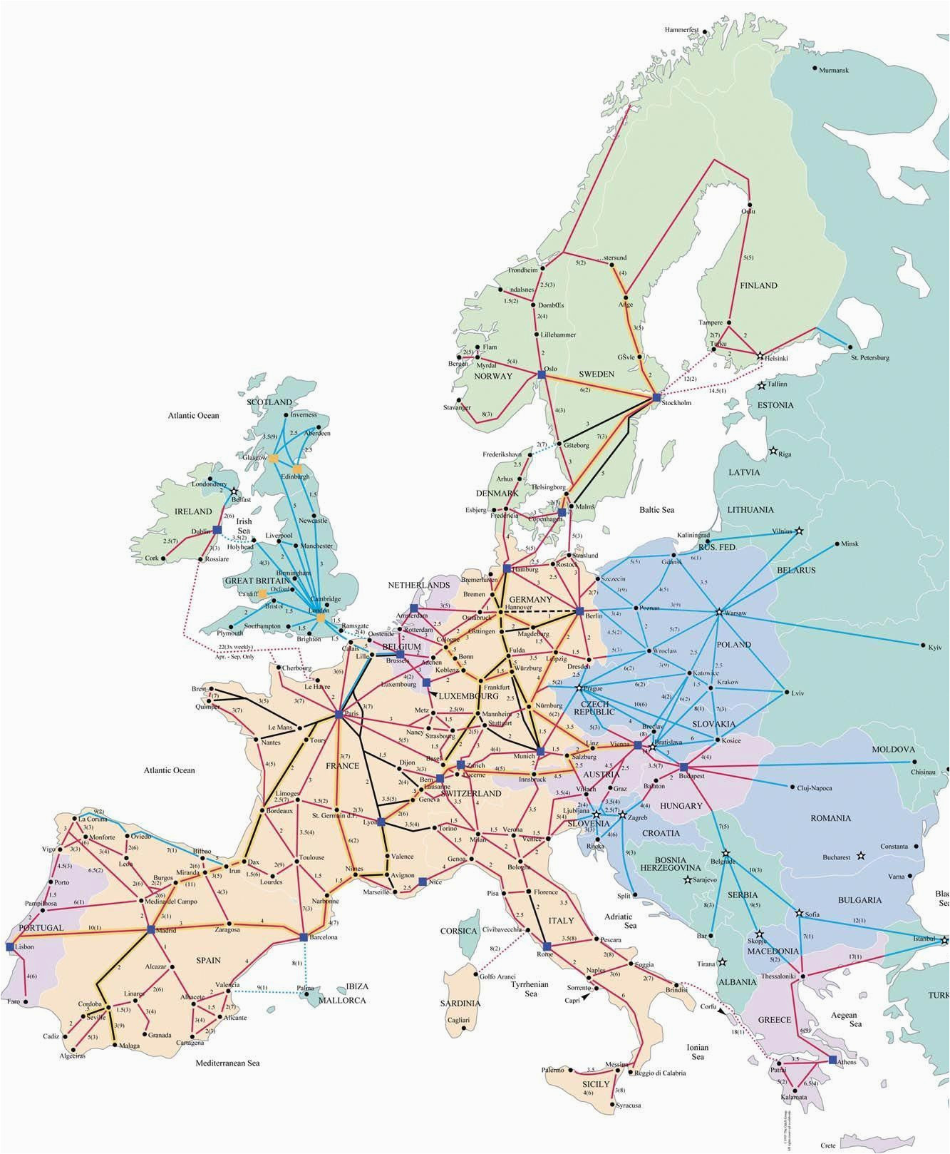 train map for europe rail traveled in 1989 with my ill