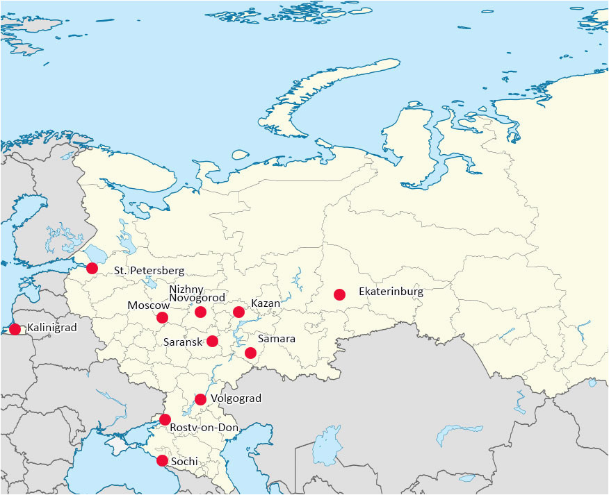 world cup 2018 russia map of cities with venues map of