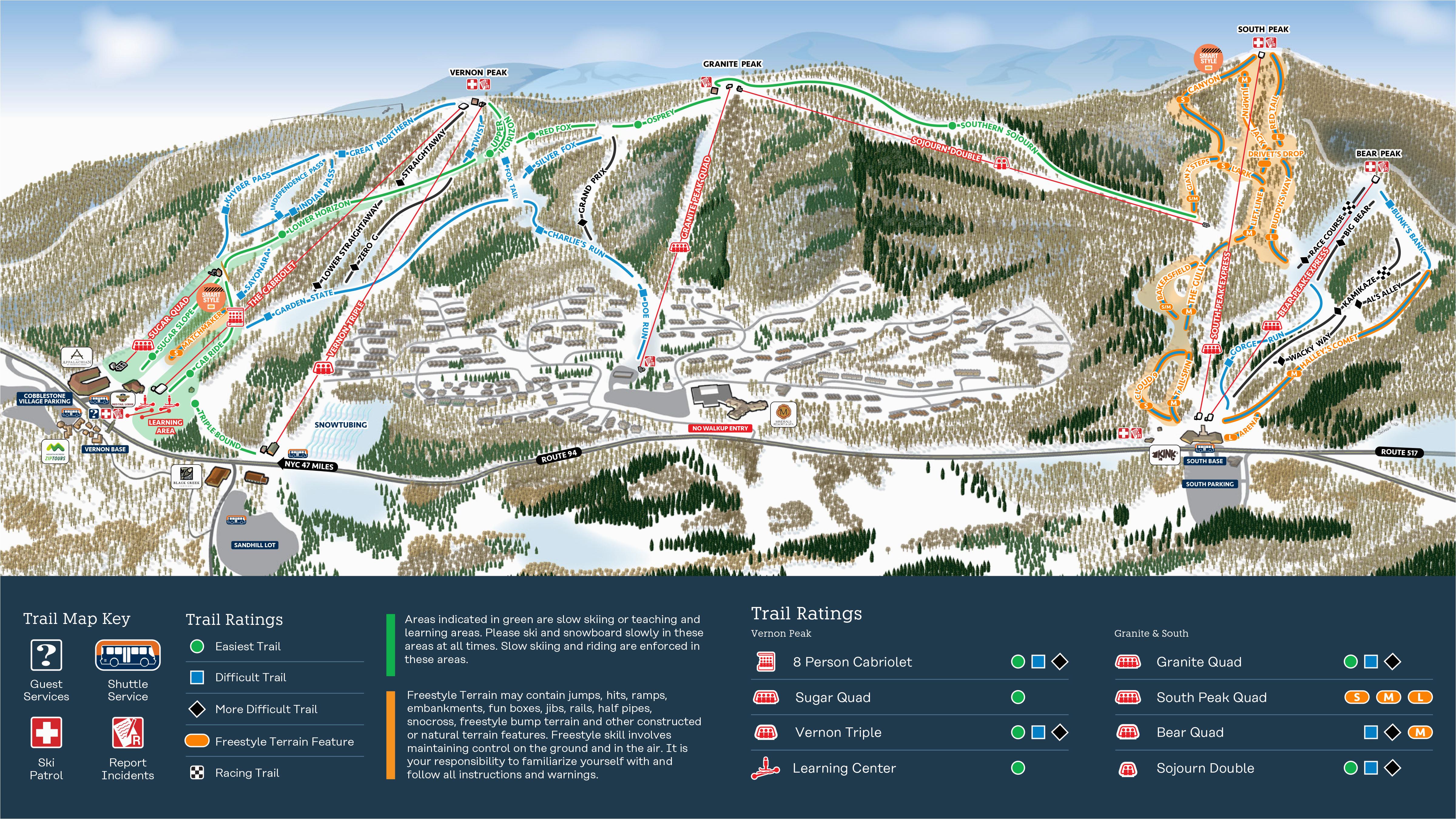 mountain creek resort trail map onthesnow