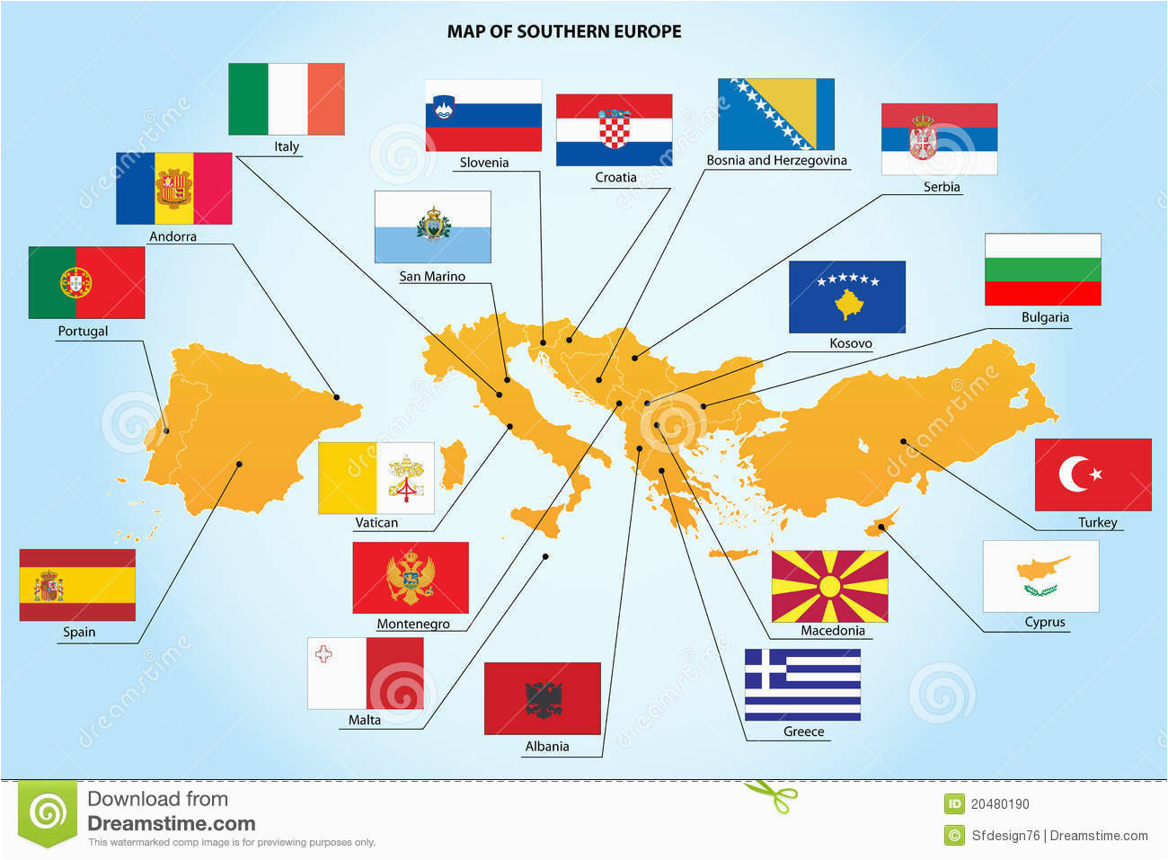 flags and map of southern europe countries stock vector
