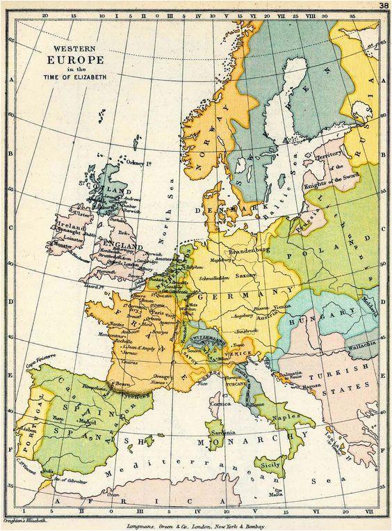 Map Of Western Europ Map Of Western Europe In the Time Of Elizabeth