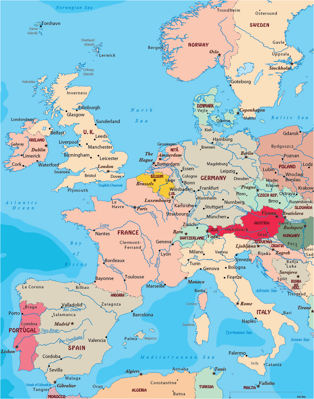 64 punctual west europe map with cities