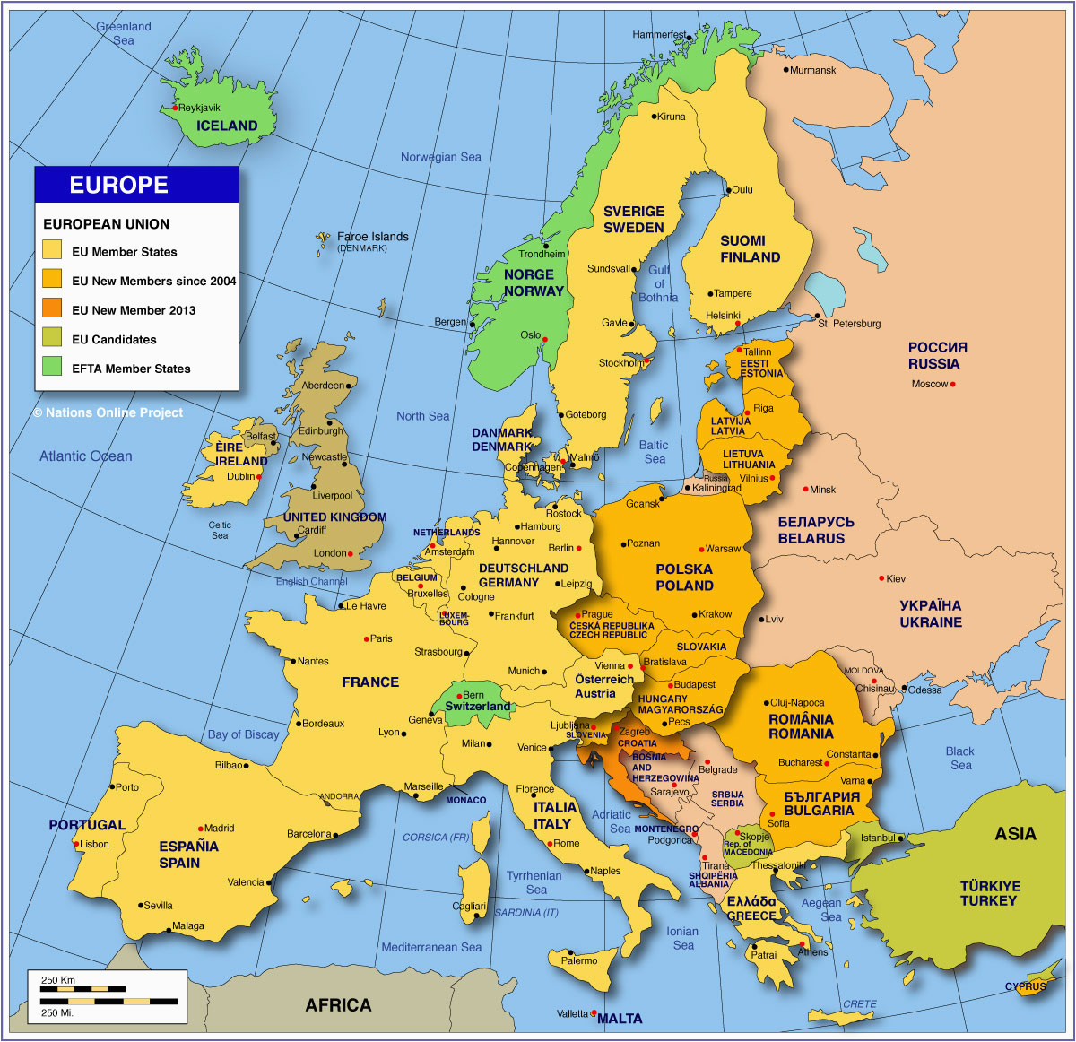 Map Of Western Europe Countries and Capitals Map Of Europe Member States Of the Eu Nations Online Project