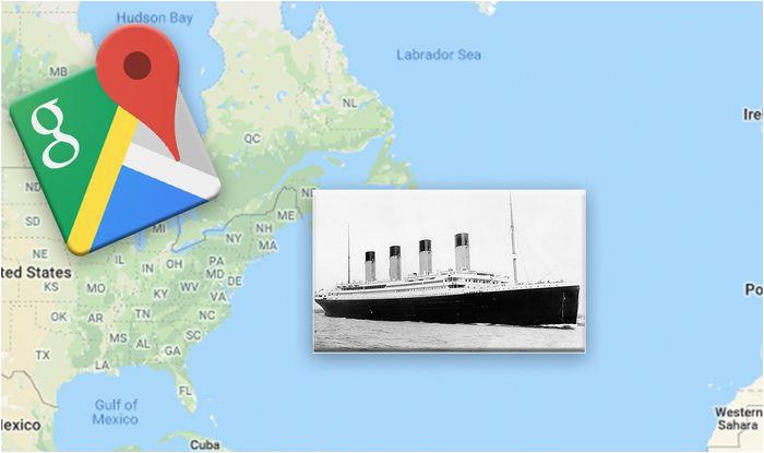 google maps exact location of the titanic wreckage revealed