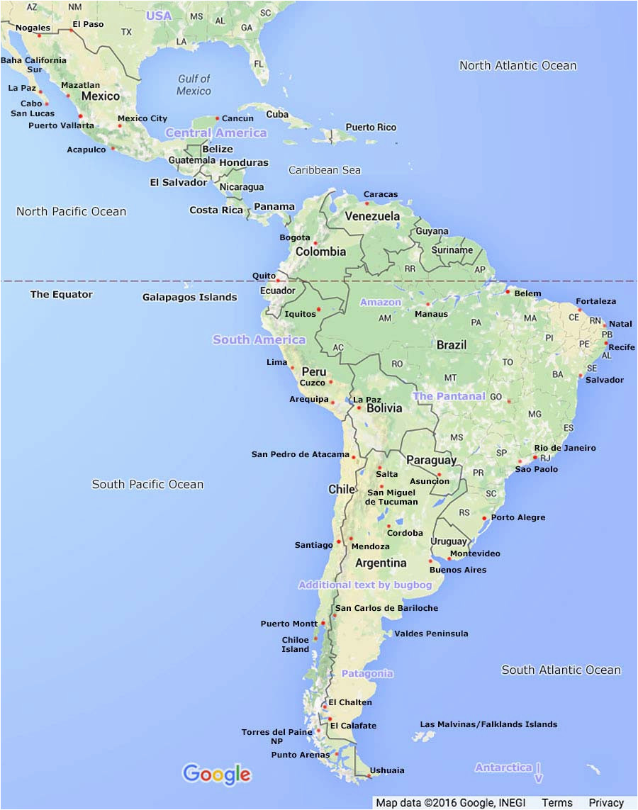 south america map central america simple and clear