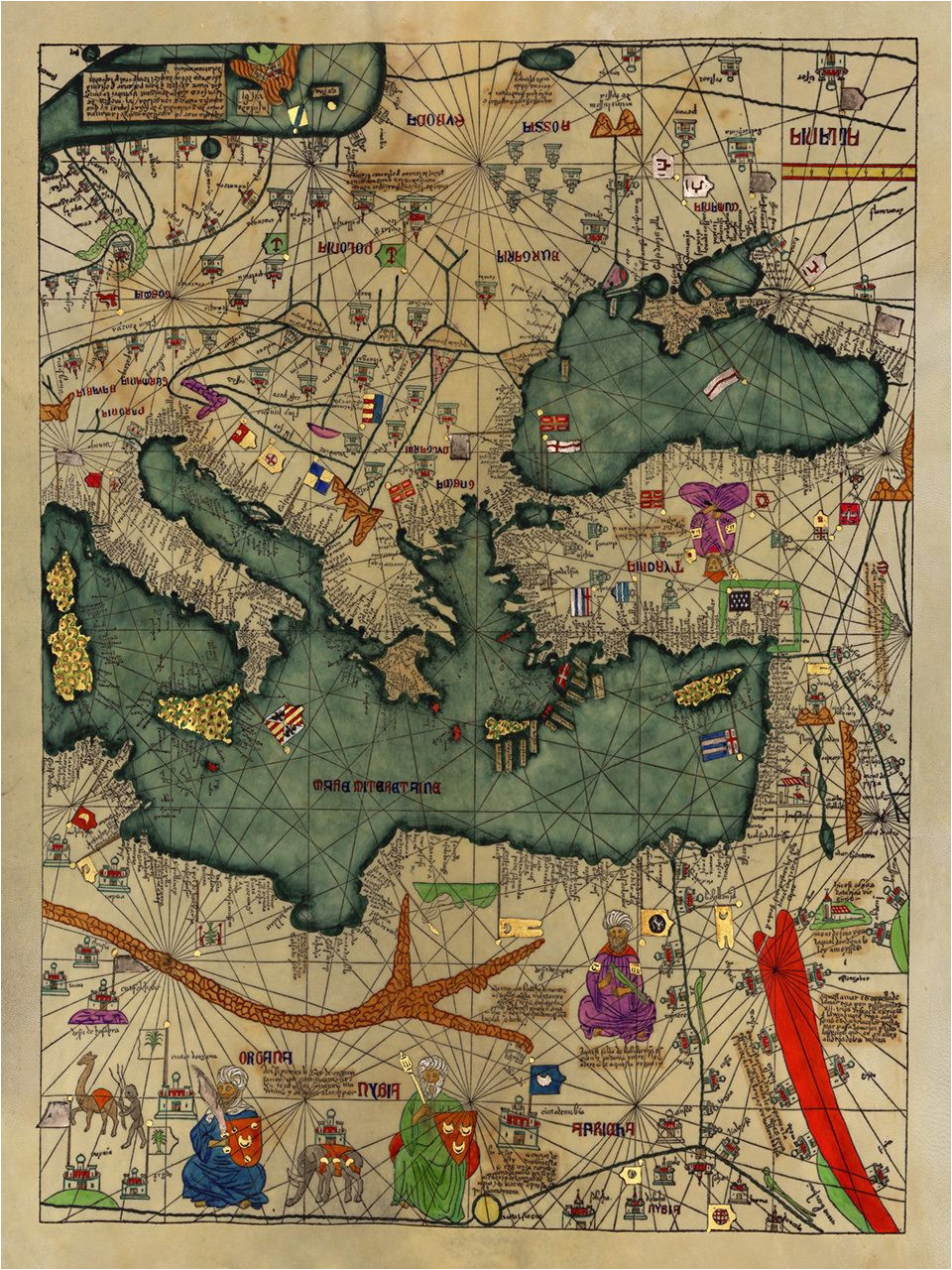 medieval map all kingdoms of the world catalan atlas 1375