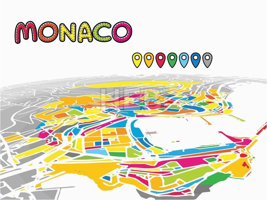 monaco monaco downtown map in perspective monaco map