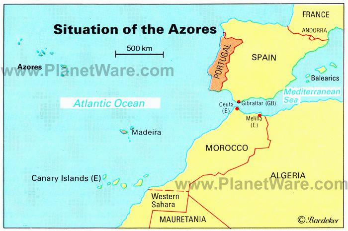Morocco Europe Map Azores islands Map Portugal Spain Morocco Western Sahara