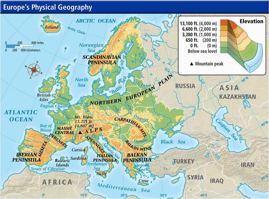 54 unerring physical map europe peninsulas