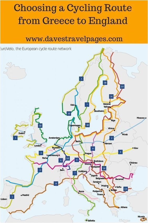 choosing a cycling route from greece to england to go list