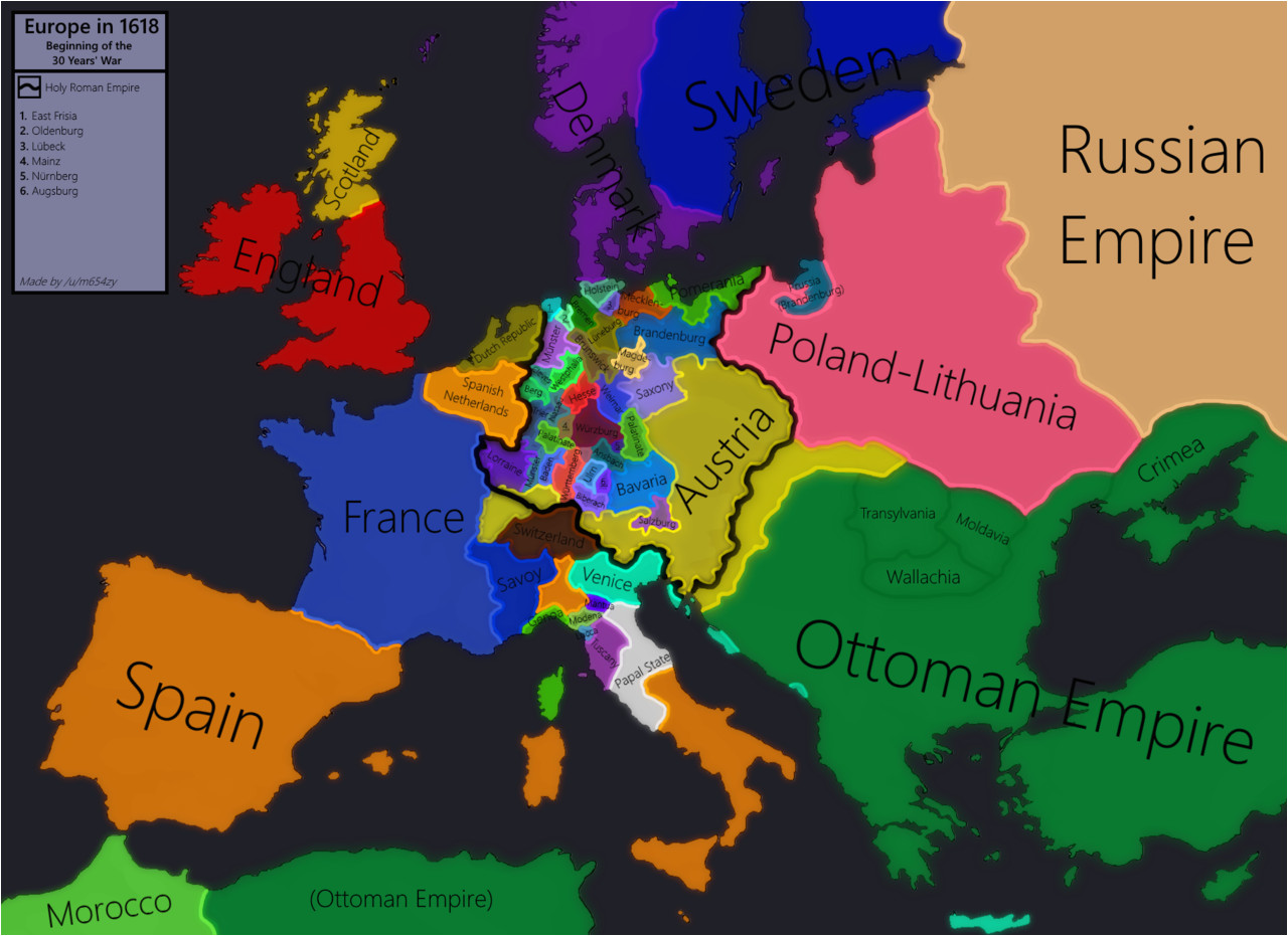 Pre War Map Of Europe Europe In 1618 Beginning Of the 30 Years War Maps