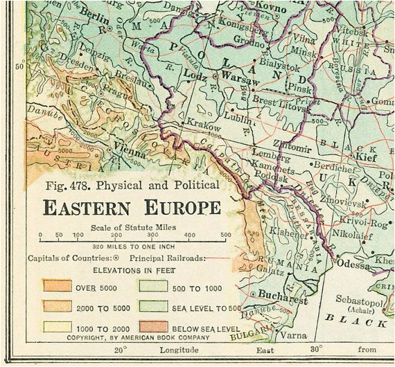1930 eastern europe map print baltic states by