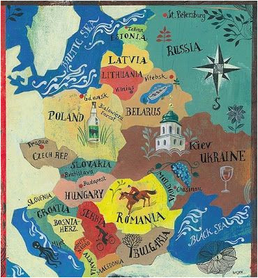 illustrated map of eastern europe map compass in 2019