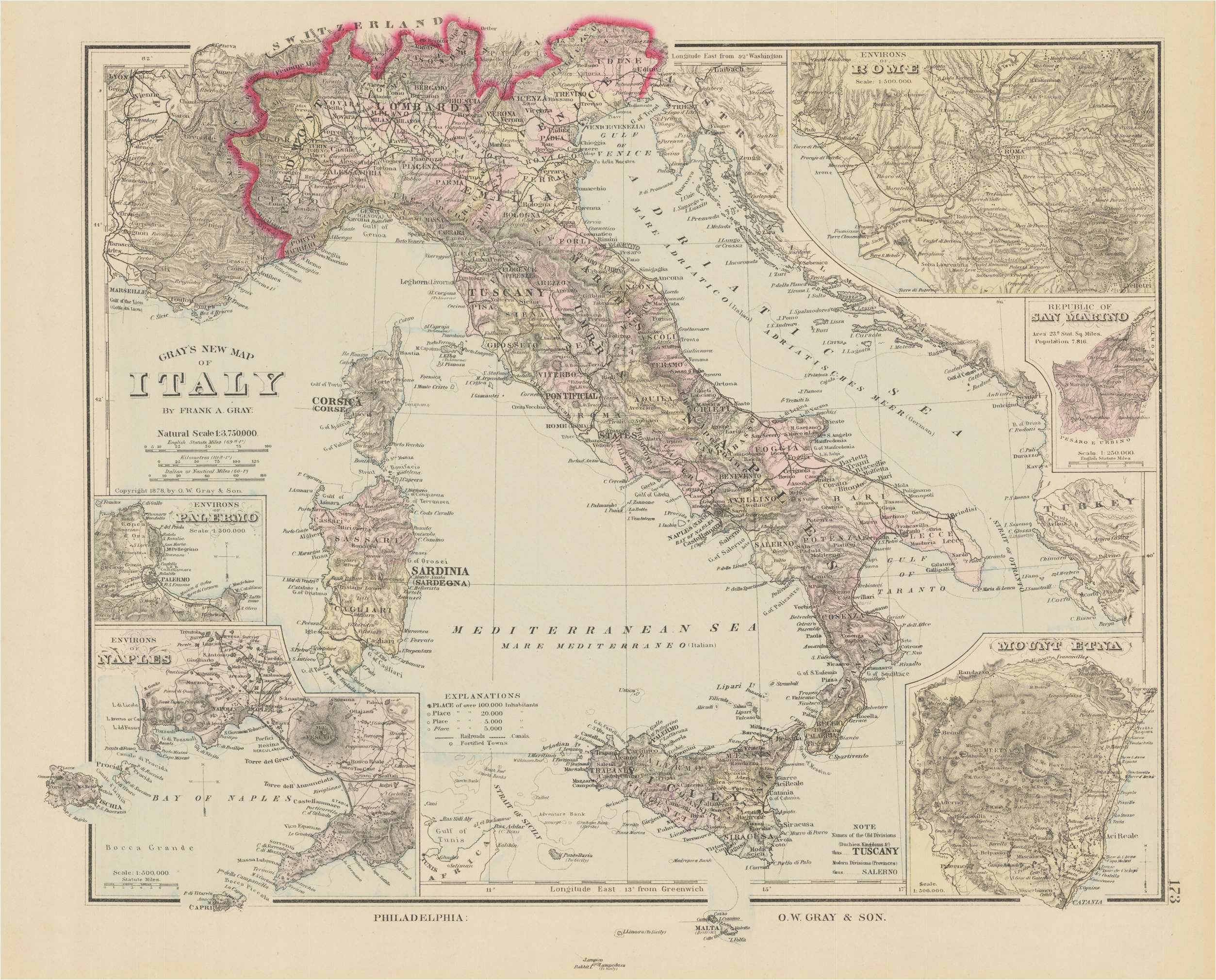 gray s new map of italy