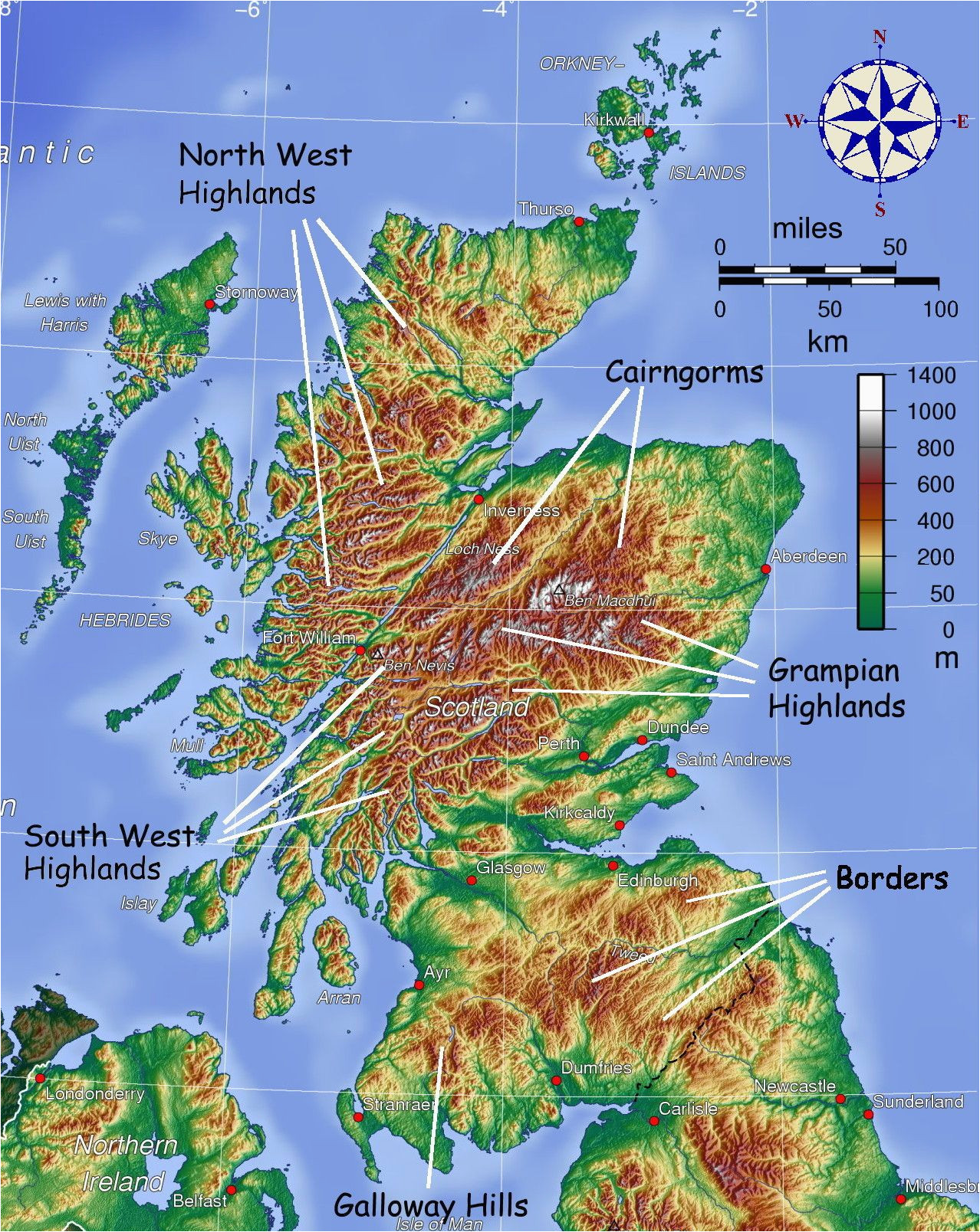 map showing mountainous areas of scotland maps map