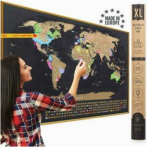 details about xl scratch off map of the world with flags made in europe large 35x23 1 2 inch