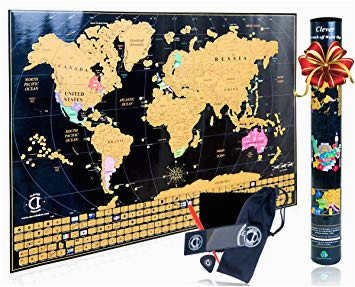 scratch off map of the world poster travel map tracker with us states outlined and country flags bright and vibrant colors perfect gift for