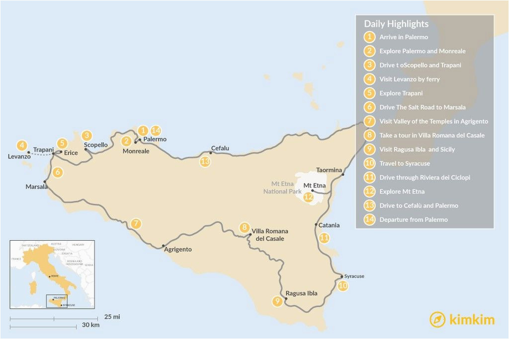 map of spectacular self drive tour around sicily 14 day