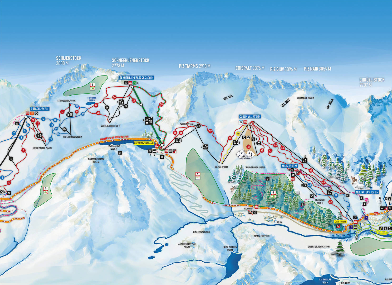 bergfex piste map andermatt gemsstock panoramic map