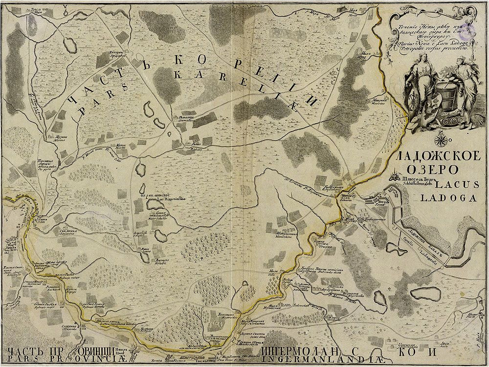 map of the neva riva from lake ladoga to saint petersburg