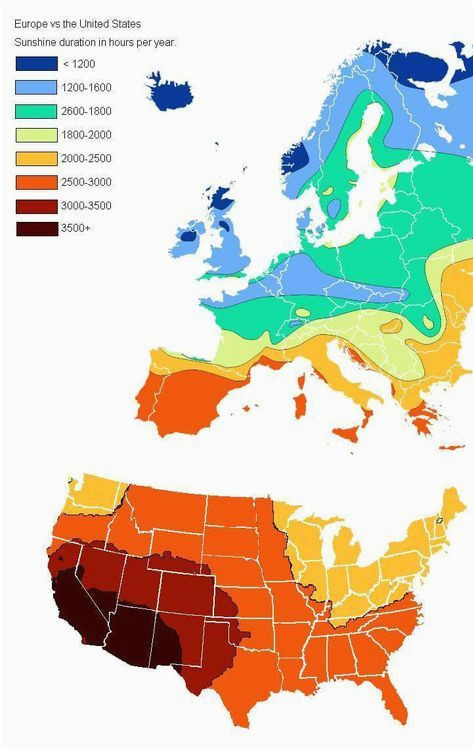 Sunshine Hours Map Europe Us Vs Europe Annual Hours Of Sunshine Geovisualizations