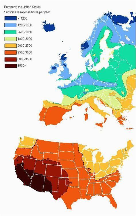 Sunshine Map Europe Us Vs Europe Annual Hours Of Sunshine Geovisualizations