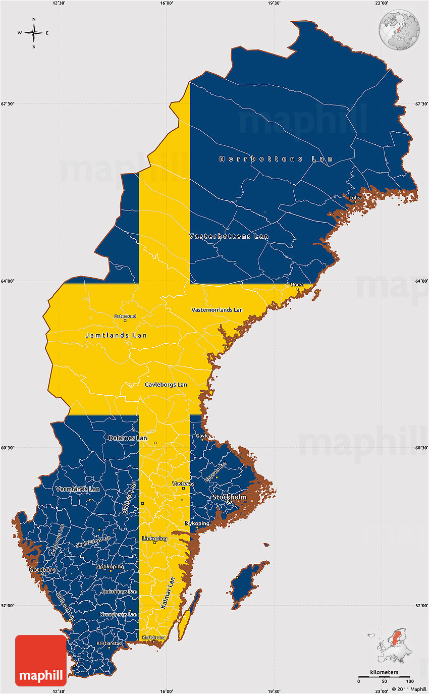 flag simple map of sweden
