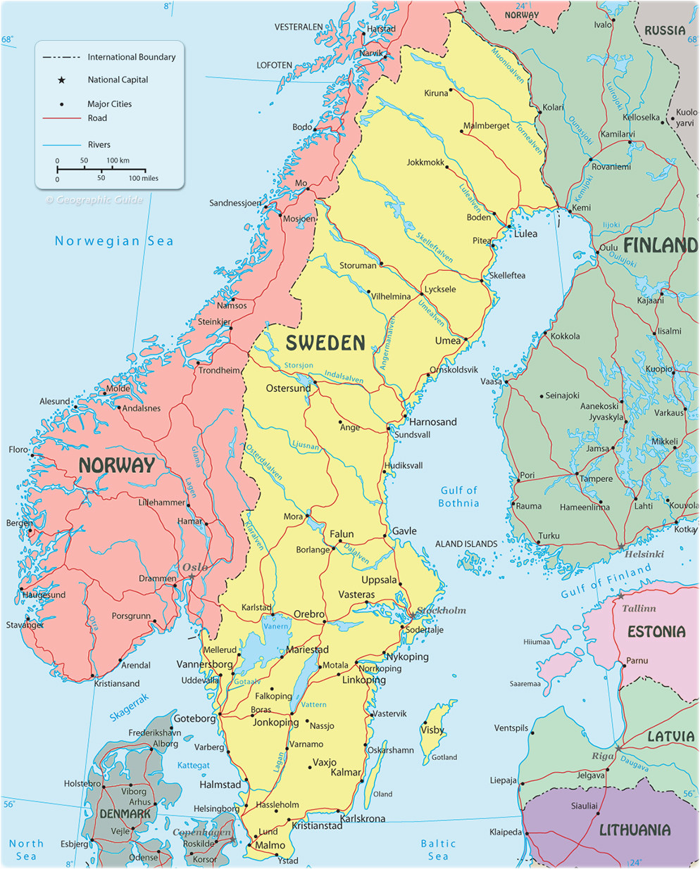 sweden on map and travel information download free sweden