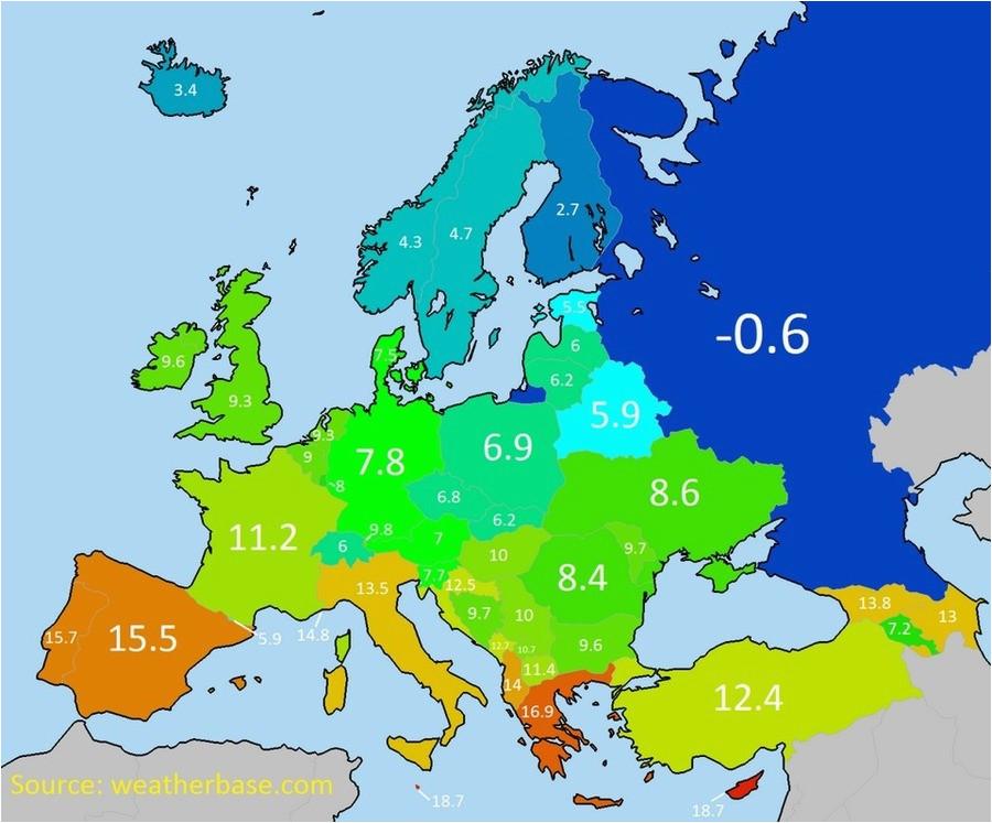 Temperature Map Of Europe Average Annual Temperature Of European Countries
