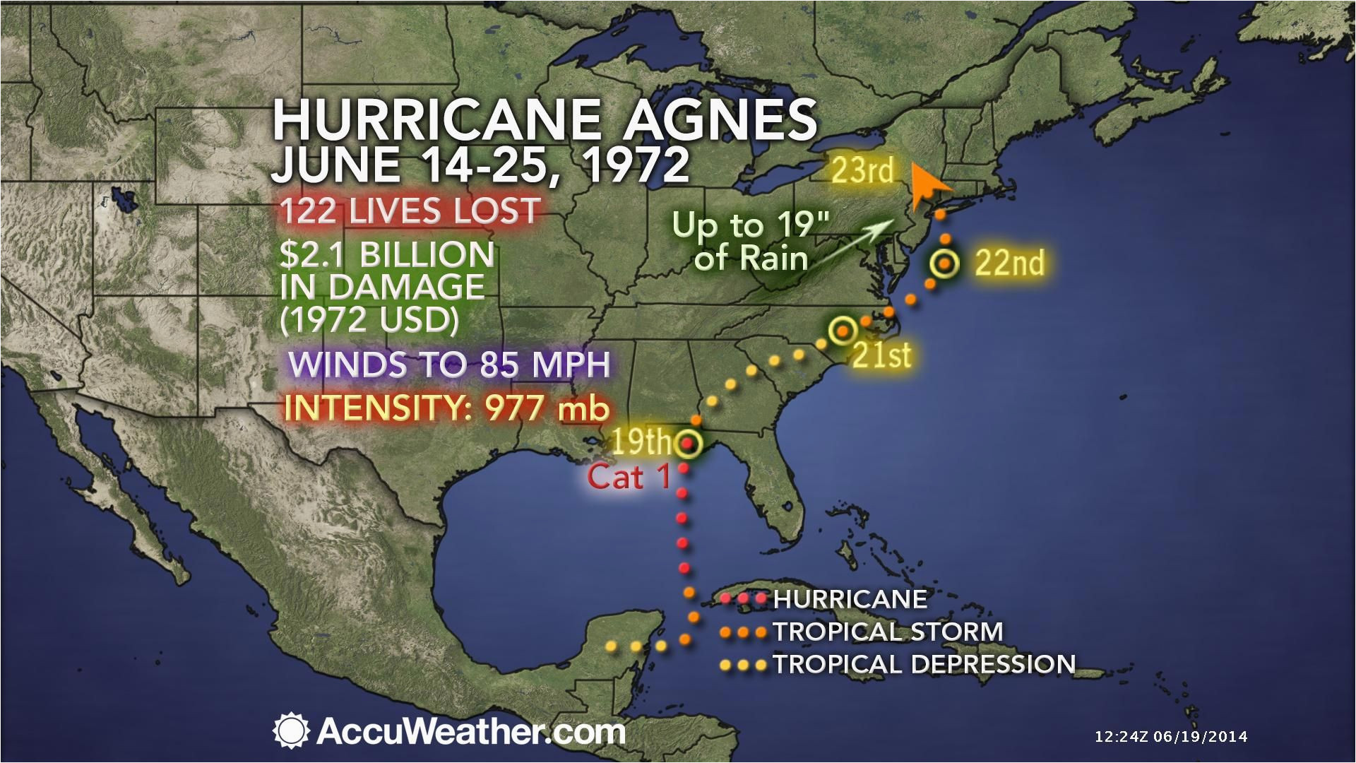 from accuweather during late june 1972 hurricane agnes