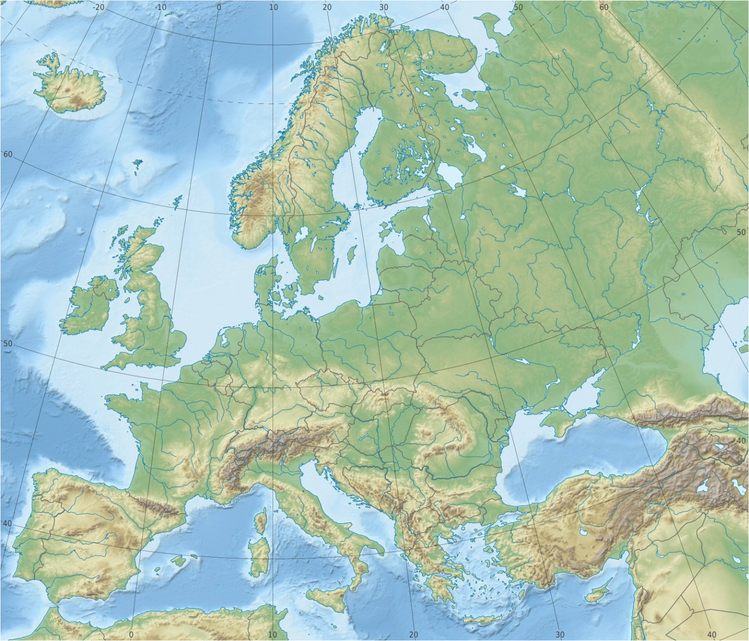 Topographical Map Of Europe Europe topographic Map Climatejourney org