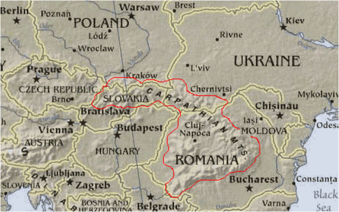 carpathian mountains maps of central and eastern europe