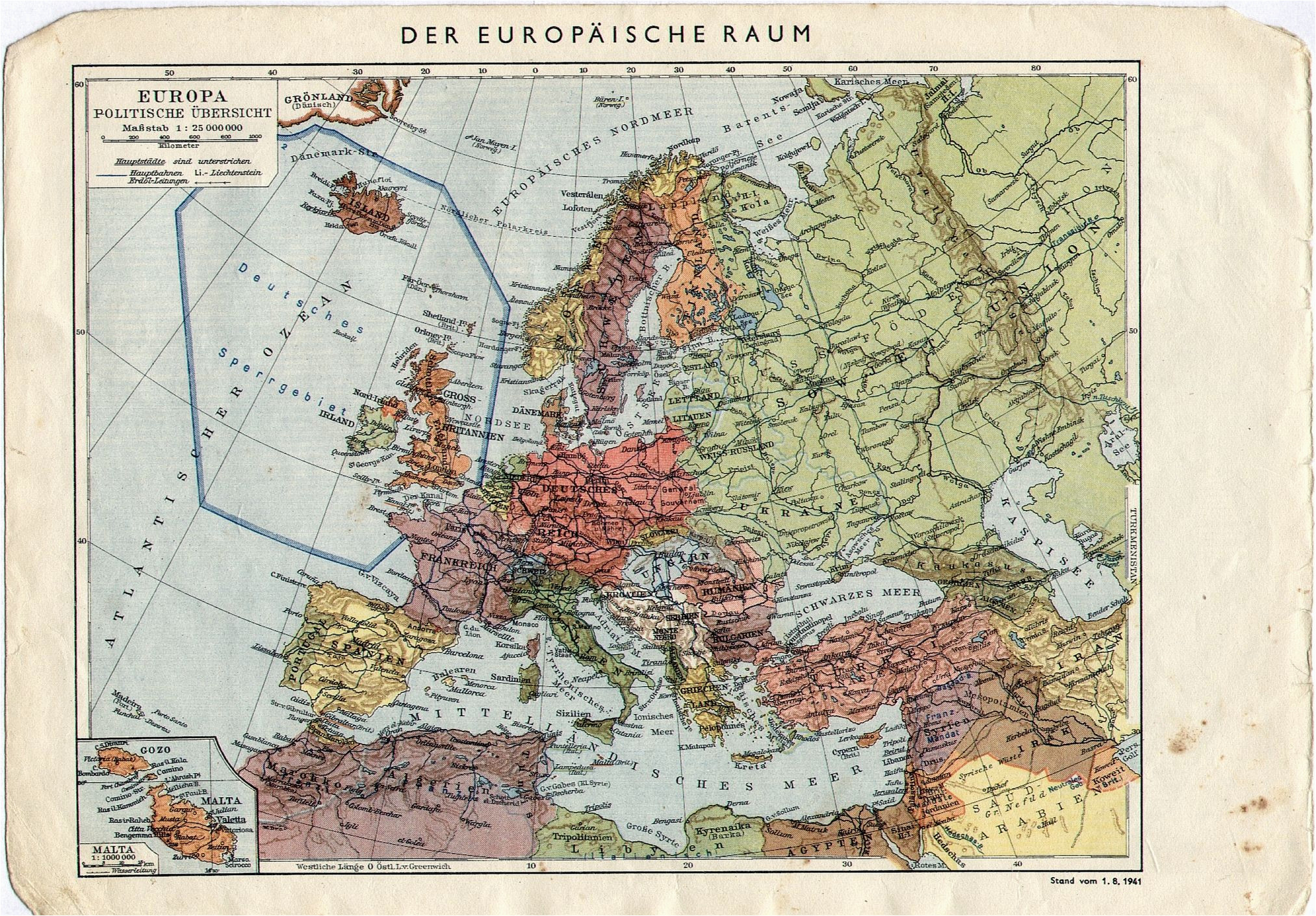 1941 german map of europe with a forbidden zone around uk