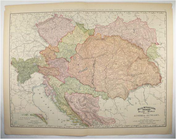 vintage large map austria hungary map 1896 antique map