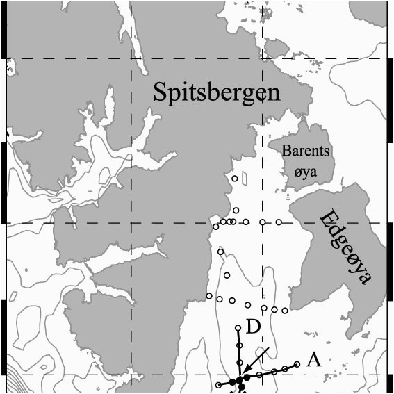 map and bathymetry of the region isobaths are drawn at 100