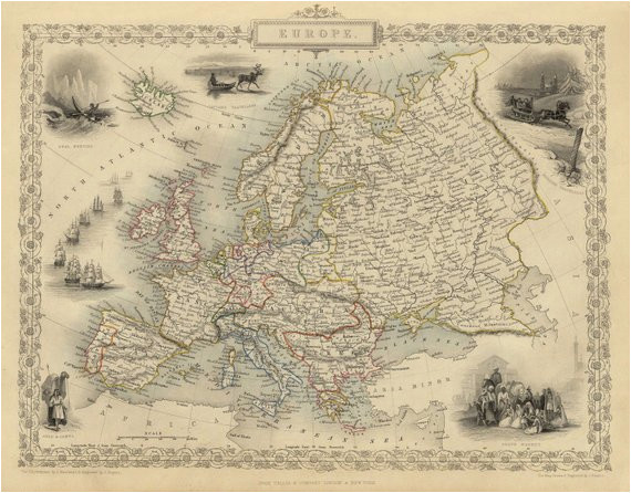 vintage map europe 1851 products antique maps map