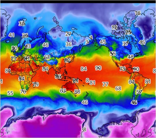 world high temperatures map
