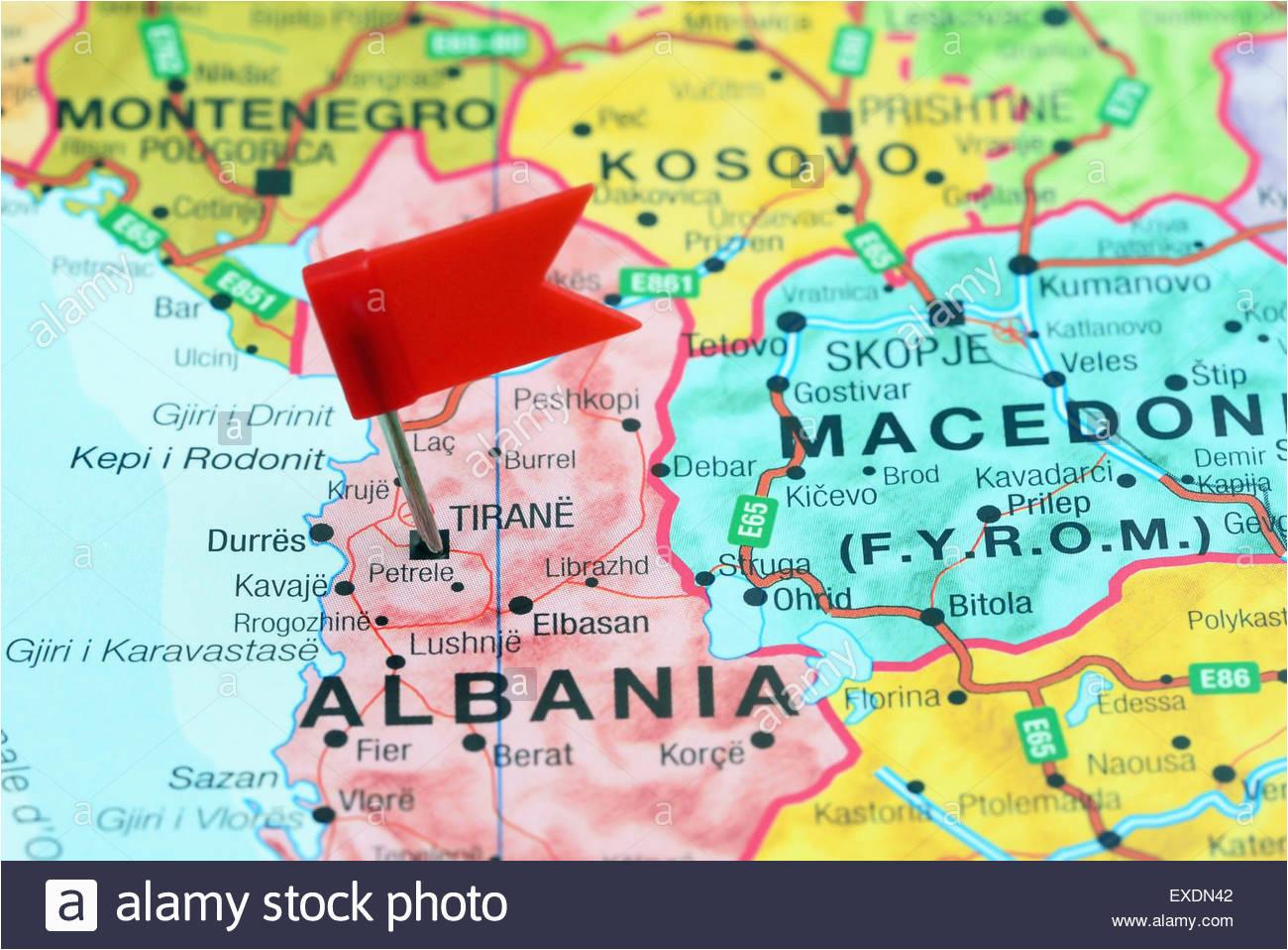 tirane pinned on a map of europe stock photo 85124482 alamy