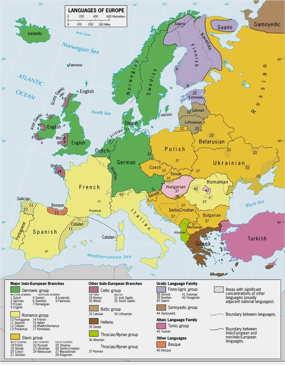 languages of europe classification by linguistic family
