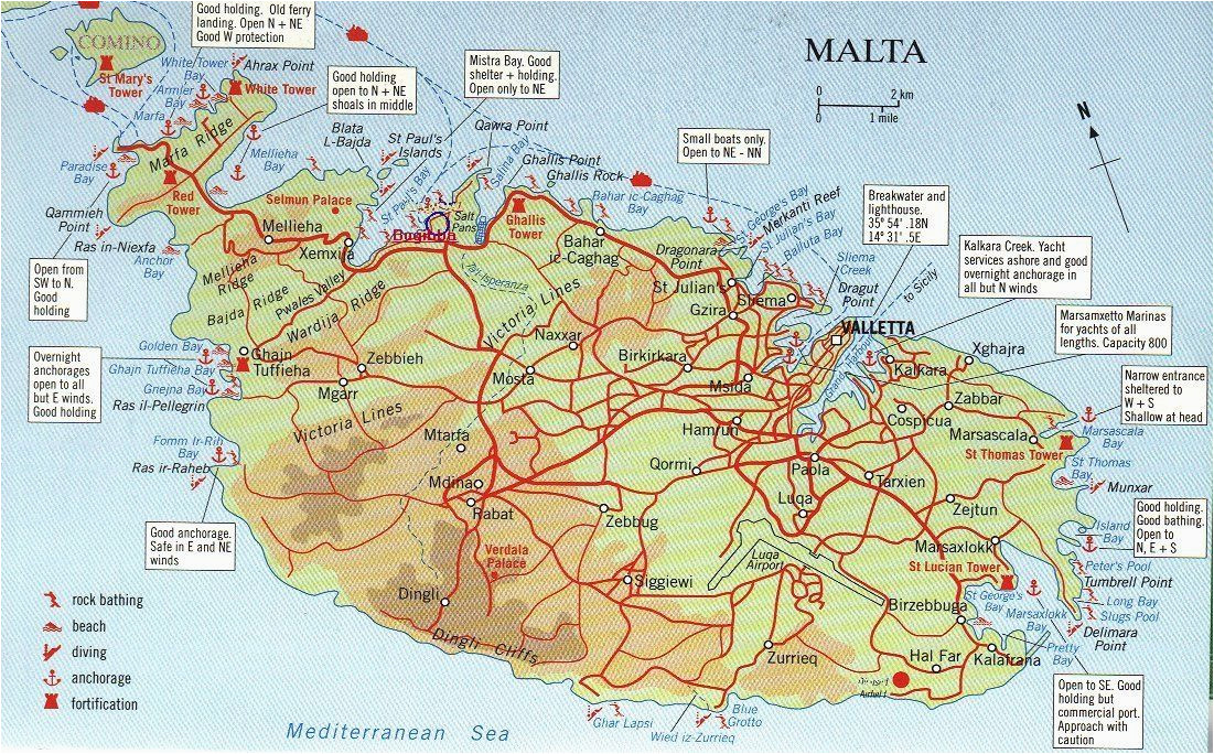 map over malta and comino big map with interesting places