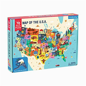 mudpuppy map of the united states of america puzzle 70 pieces 23 x16 5 ideal for kids age 5 learn all 50 states by name capital city and more
