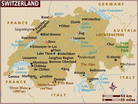 Zurich Switzerland Map Europe Map Of Switzerland