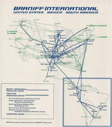 braniff international route map october 1965 route map