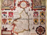 17th Century Europe Map 17th Century Map Of northumberland Hand Painted Made to