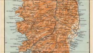 Ajaccio France Map 1914 Corsica Antique Map Corse Corsega France Mediterranean Sea