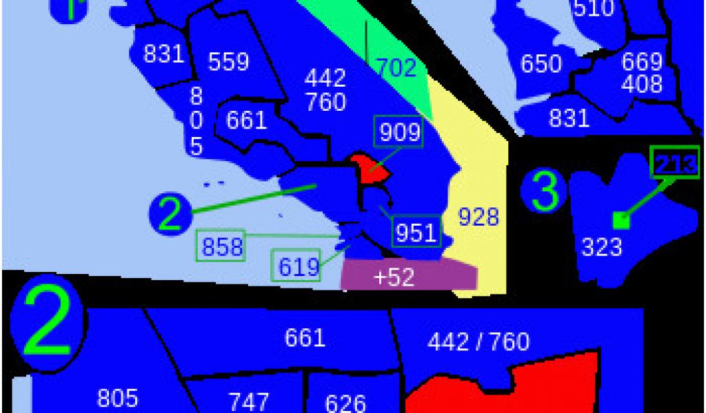 Area Codes for California Map area Code 909 Wikipedia ...