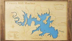 Canyon Lake Map Texas Amazon Com Canyon Lake Texas Framed Wood Map Wall Hanging Handmade