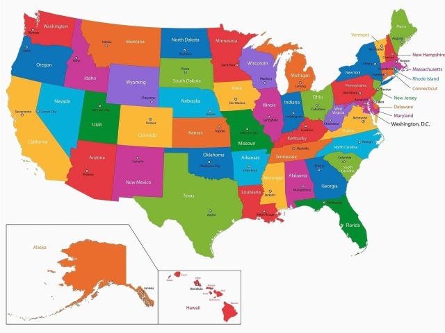 Map Of States In America.Capital Of Oregon Map United States Map With State Capital Names